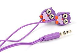 DURAGADGET Purple In-Ear Novelty Owl In-Ear Headphones for K