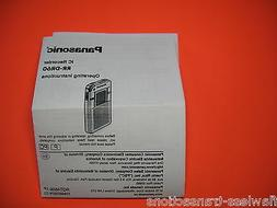 Panasonic RR-DR60 Digital IC Recorder Printed Operating Inst