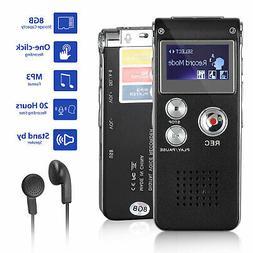 Voice Activated Mini Spy 8GB Digital Sound Audio Recorder Di